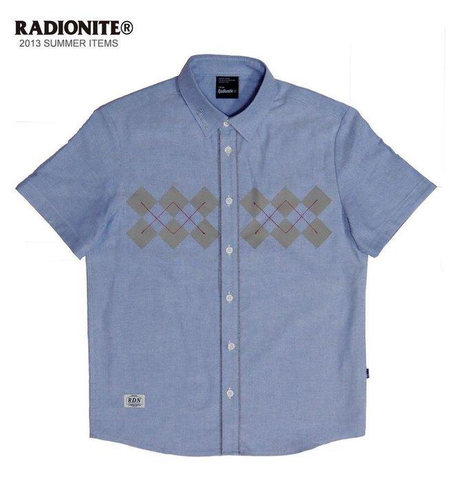 美國東村【RADIONITE】Diamond Plaid Shirt 英倫 菱格紋襯衫 可反折 天空藍