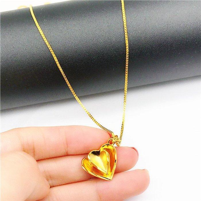 送禮佳品 沙金吊墜女 久不掉色歐幣假黃金首飾 心形吊墜 鍍金項鏈仿真
