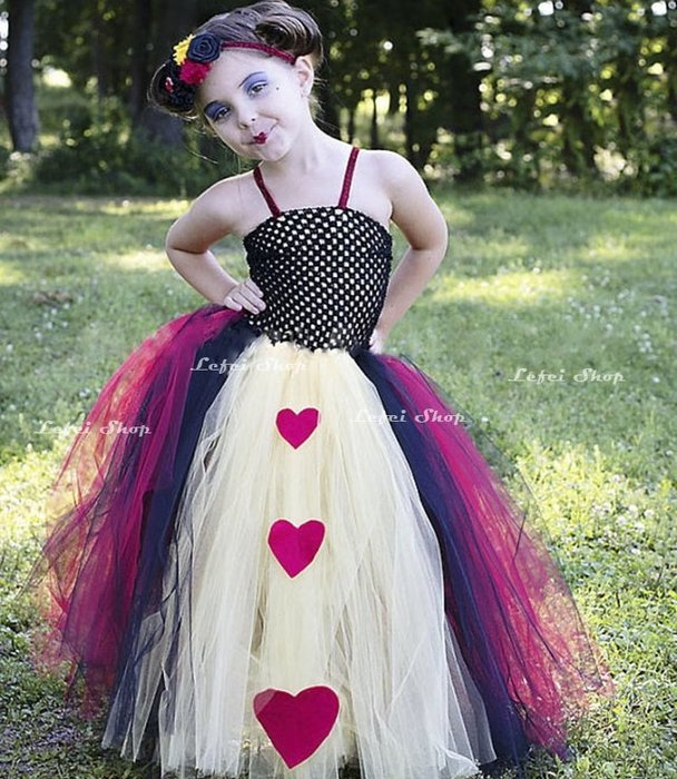 【小阿霏】中小童兒童萬聖節服裝 紅心壞皇后禮服 手工蓬蓬裙連身裙 女孩寫真表演主題派對cosplay裝扮CL252