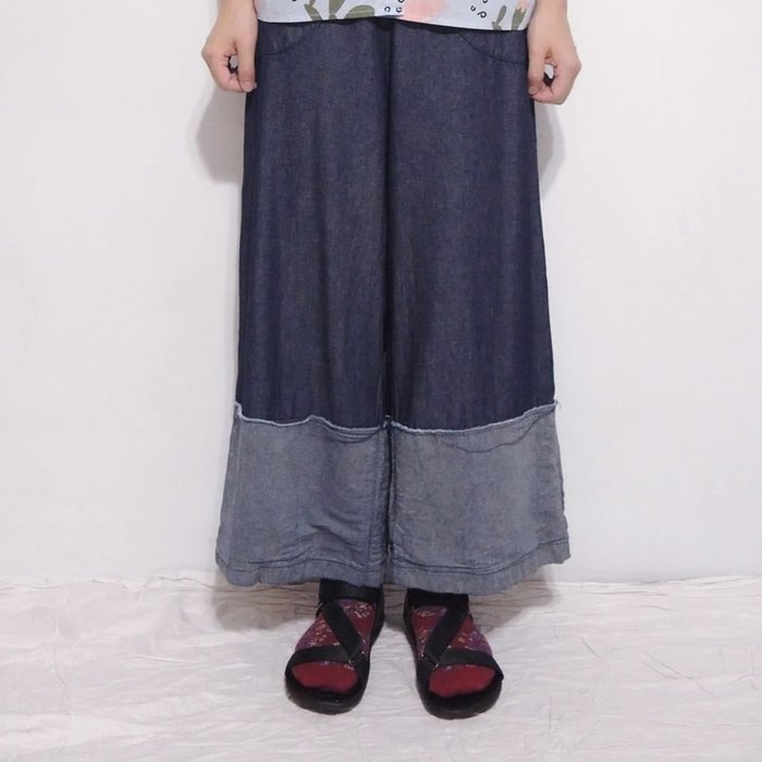 。error dot。韓國大反折設計丹寧寬褲