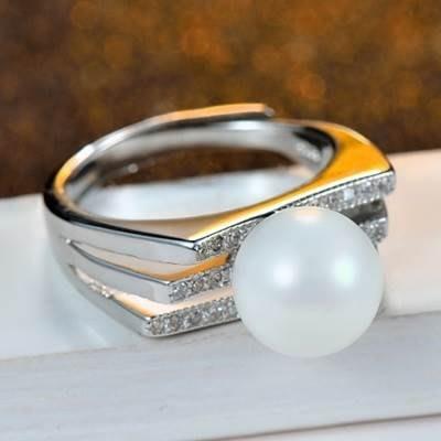 鑲鑽戒指 925純銀開口戒-時尚獨特個性珍珠七夕情人節生日禮物女飾品73kd42[獨家進口][巴黎精品]