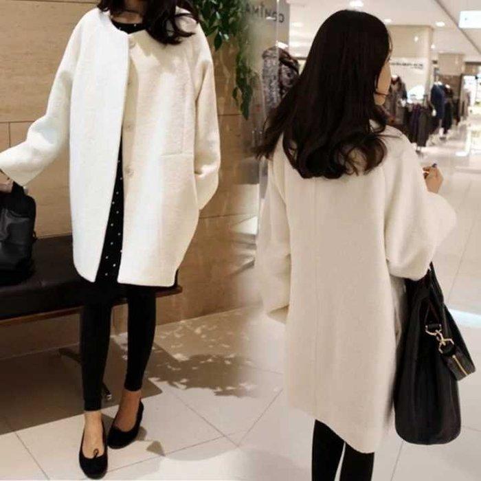 毛呢外套  韓版修身女裝毛呢外套時尚女大碼中長款呢子大衣 --奇異空間