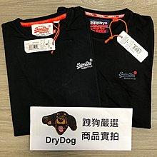 現貨㊣印度製 極度乾燥 Superdry 經典刺繡Logo T-shirt 純棉 短袖 素T 上衣 T恤 黑 A&F