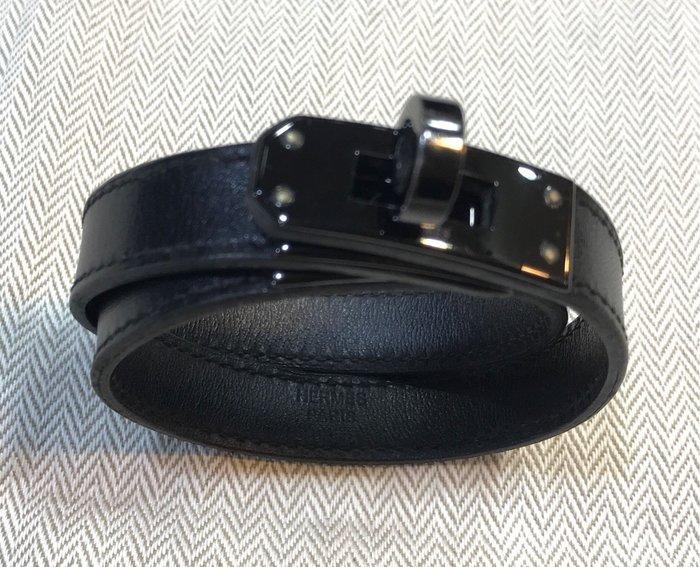 《當肯二手名品》HERMES 黑色 黑釦凱莉 手環 雙圈 ㊣