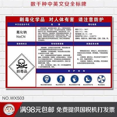 #5件起發危險化學品告知卡 氰化鈉安全周新知卡 工廠警示標識新牌提示牌標貼紙