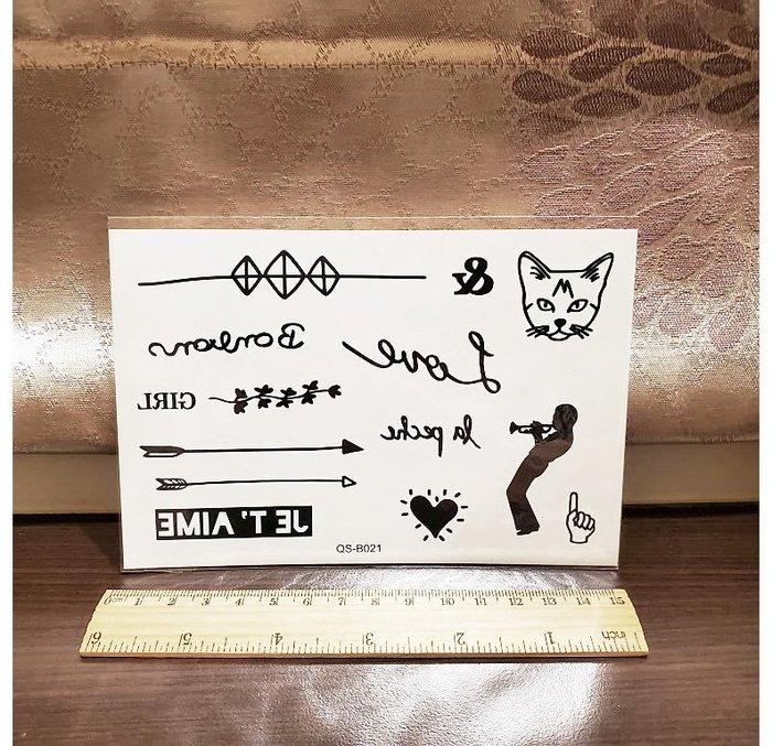 【萌古屋】箭頭與貓 - 手背防水紋身貼紙刺青貼紙QS-B021 K41