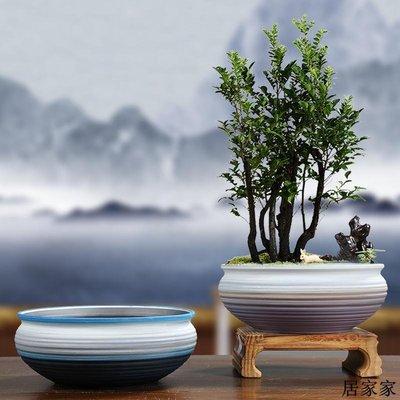 花盆 花器 陶瓷擺飾 陶瓷粗陶文竹茉莉土培花盆小葉紫檀透氣紫砂胎帶托盤簡約新品套裝