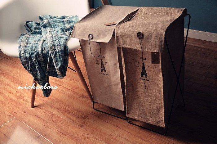 尼克卡樂斯~創意zakka雜貨可折疊環保棉麻髒衣籃 儲物籃 髒衣桶 髒衣袋 收納袋 衣物洗衣收納籃