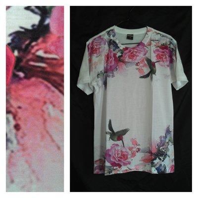 A-PO小舖 花朵與鳥圖案短袖T恤 白色 M L 國外進口 全新品 特價 490