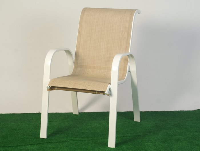 [兄弟牌休閒傢俱]鋁合金紗網休閒椅 4張 /組餐椅~白色烤漆管雙色特斯林編織背部包覆性佳~庭園歐式風情!Brother~
