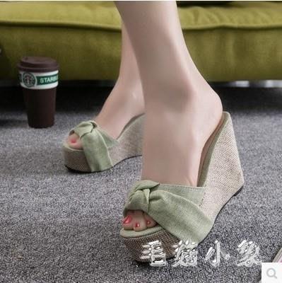 ZIHOPE 坡跟拖鞋 涼拖女時尚厚底防水臺一字拖鞋松糕拖鞋ZI812