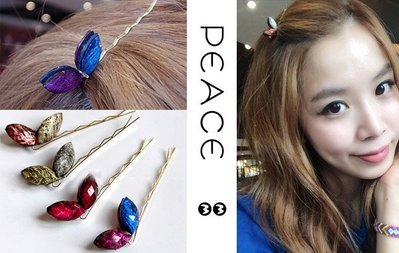 【PEACE33】正韓國空運進口。髮飾飾品  復古水晶 雙面立體兔耳朵髮夾/邊夾/瀏海夾。現+預