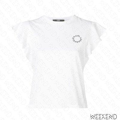 【WEEKEND】 KARL LAGERFELD Logo Ruffle 卡爾 荷葉袖 短袖 上衣 T恤 白色 19春夏