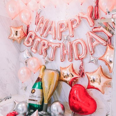🔥24HR出貨🔥璀璨玫瑰金生日氣球套餐  生日禮物 派對佈置 氣球 生日 派對 生日字串 KTV佈置 夜店包廂