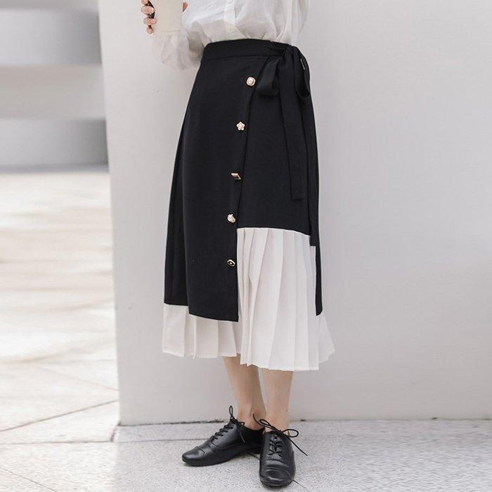 SeyeS 日系個性不規則拼接設計感復古扣A字裙