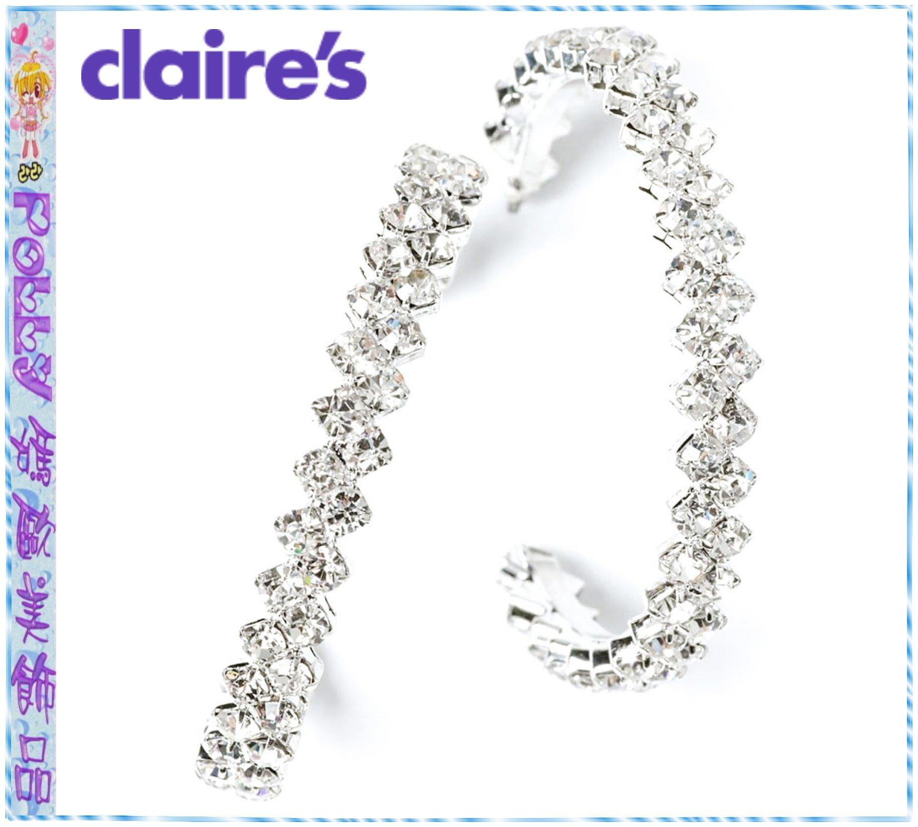 ☆POLLY媽☆歐美claires Zig Zag Crystal Hoop Earring水晶鑽大圈圈耳環£8.00