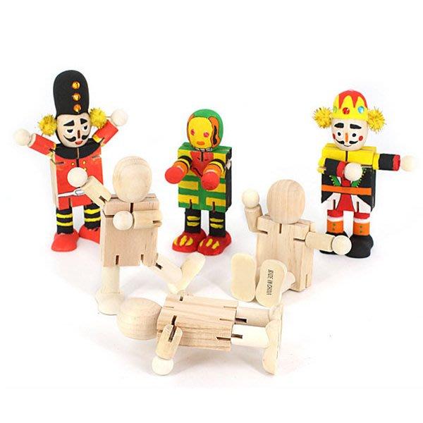 兒童手工DIY彩繪木頭機器人材料【JC3860】《Jami Honey》