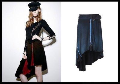 *mini PUNK LOLO* 歐洲中古世紀-北歐魔法森林渲染漸層拉鏈不規則裙(2色.PQ-099)PUNK