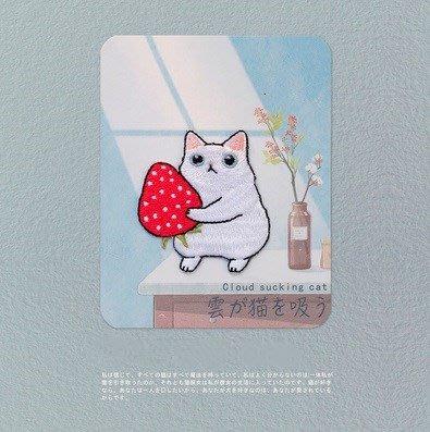 貓咪草莓燙布貼(有背膠) ※ 貼布/刺繡/臂章/熨燙徽章/補丁/布章/電繡/貼花/小貓
