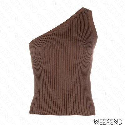 【WEEKEND】 MATERIEL 針織 彈性 不對稱 露肩 斜肩 背心 可可色