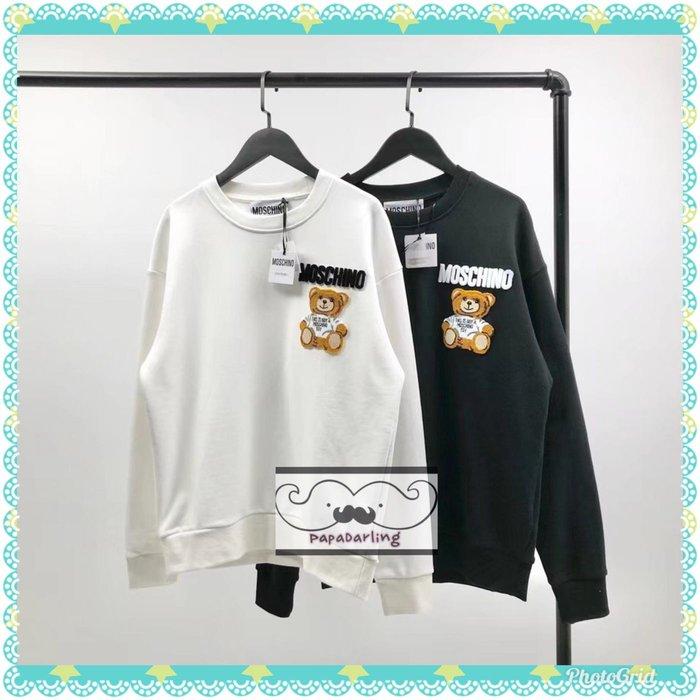 PapaDarling 20SS 歐美潮牌Moschino 同款 立體牙刷繡小熊 寬鬆 長袖圓領T恤 圓領T恤 情侶裝 黑色 白色