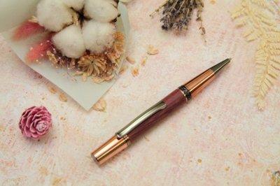 手工製黑鈦玫瑰金紫心木原子筆