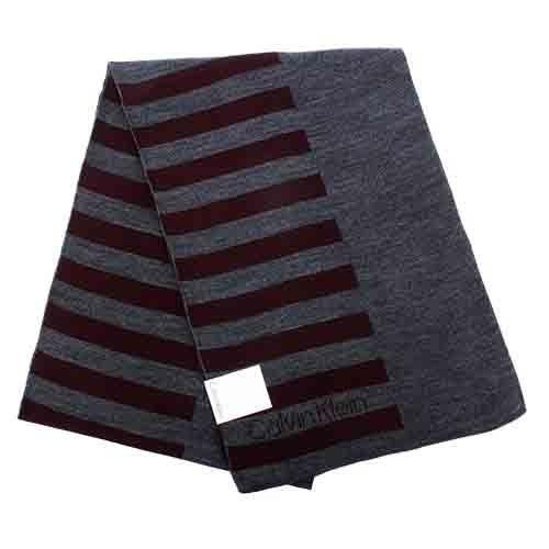 【姐只賣真貨】Calvin Klein 新款CK橫紋保暖圍巾(黑色/酒紅色)