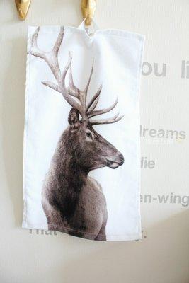 【小麼雜貨】H  M home北歐風 側面麋鹿 洗臉毛巾 童巾 擦手巾 裝飾巾( )C002(900)