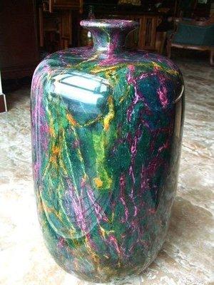 *藏雅軒*天然礦石花東七彩玉石系列-大型聚寶盆花瓶-富貴長青-3802