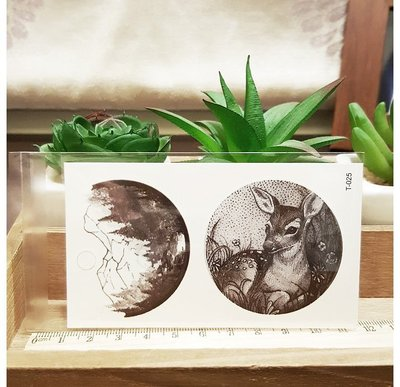 【萌古屋】圓形森林小鹿 - 男女防水紋身貼紙刺青貼紙 T-025