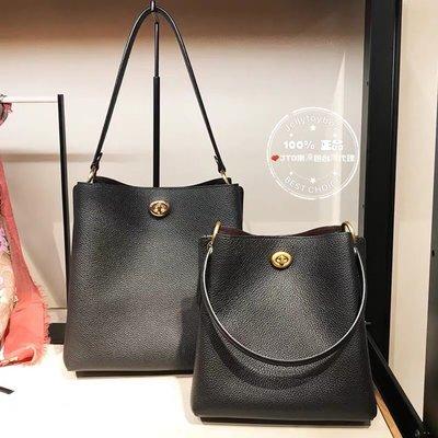 全新真品 COACH 55200 黑色 Charlie Bucket Bag 全皮革 雙夾層水桶包 LV 同款 嘻皮包