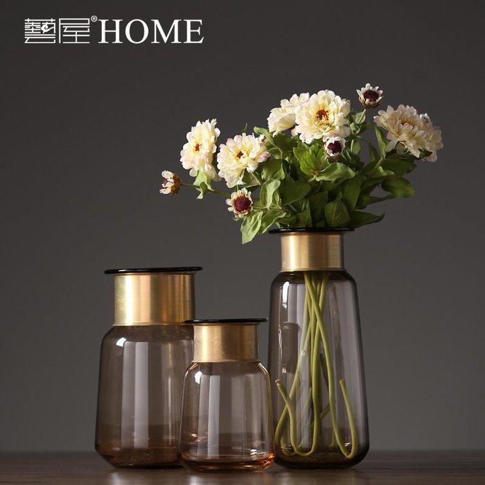 〖洋碼頭〗北歐琥珀玻璃花瓶 美式歐式創意花器 家居客廳樣板間裝飾品擺件設 ywj231