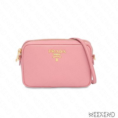 【WEEKEND】 PRADA Saffiano Camera 皮革 相機包 肩背包 粉色