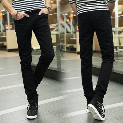 新款男裝時尚純棉黑色小腳褲男修身微彈男士休閒褲小直筒 Y1002-1