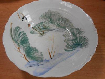 【玉文坊】-民俗-* 阿嬤的古早素山水大碗 * 寬: 21 公分 2F2-33