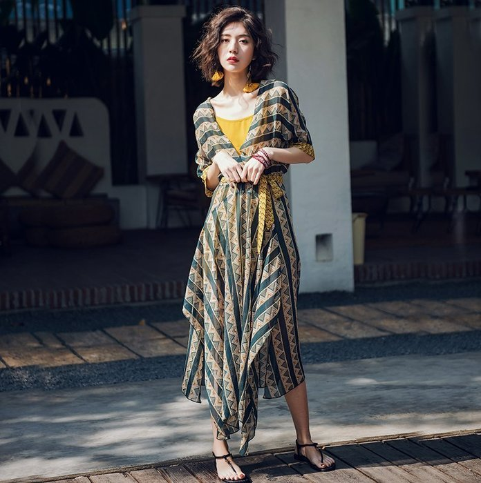 2018 ♥韓 實拍 ♥ 海灘裙巴厘島沙灘裙E6055 新款波西米亞連衣裙海邊度假長裙