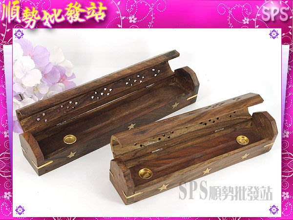 【順勢批發站】印度線香檀香雕刻木盒,Gonesh 木雕金屬圖紋線香盒線香板(大香盒)