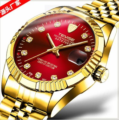 【潮裡潮氣】TEVISE特威斯爆款防水商務日曆手錶全機械男士手錶全自動機械手錶629