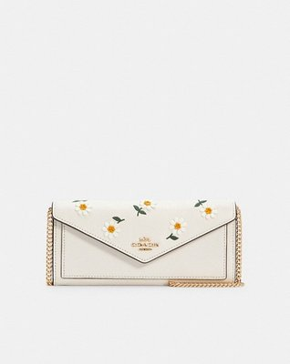Coach Slim Envelope Wallet With Chain With Daisy Embroidery