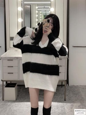 秋季新款韓版馬海毛寬鬆黑白條紋毛衣女懶惰風中長款長袖針織上衣