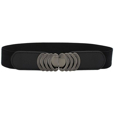 黑色多層雕花金屬造型對扣彈性鬆緊腰封腰帶 【PT008】