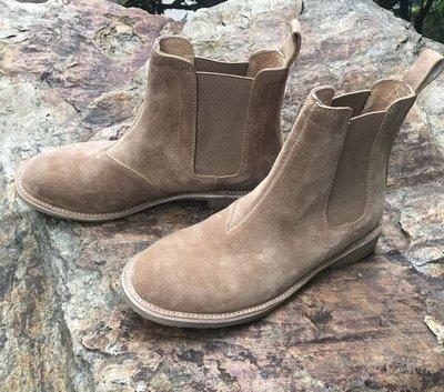 ∵ PRAY FOR FASHION ∴英倫Chelsea boots牛皮反絨皮優質煙膠鞋底層疊皮封邊中高筒切爾西靴