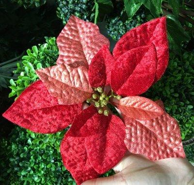金色紅色立體聖誕花25CM大號聖誕花 聖誕樹掛件掛飾花頭櫥窗裝飾