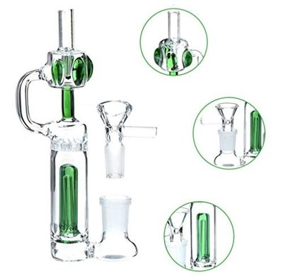 綠色 迷你 Bong 玻璃水煙斗 多重過濾水煙斗 水菸斗 水煙壺 水菸壺 55mm