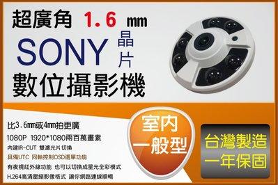 AHD 室內型 1.7MM超廣角魚眼 SONY 323晶片 1080P 紅外線攝影機 支援切換 CVI TVI 類比