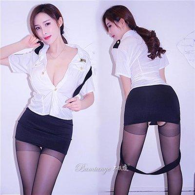 性感空姐制服誘惑情趣內衣透視激情用品開檔緊身絲襪女警套裝sm騷