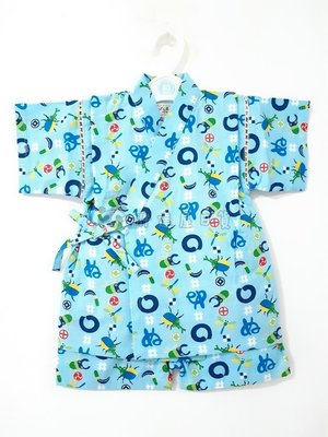 ✪胖達屋日貨✪褲款 90cm 水藍底 鐮刀 獨角仙 蜻蜓 日本 男 寶寶 兒童 和服 浴衣 甚平 抓周 收涎 攝影