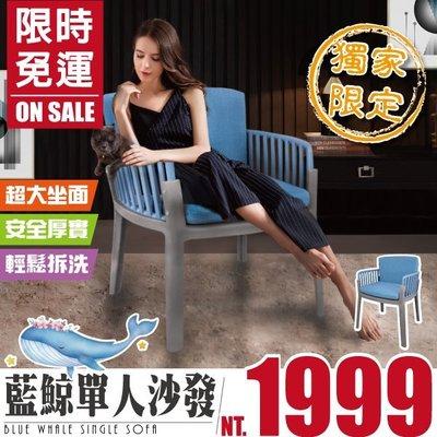 FDW【242UP】免運現貨*獨家限定藍鯨單人沙發/設計師/用餐椅/辦公椅/工作椅/餐廳咖啡廳