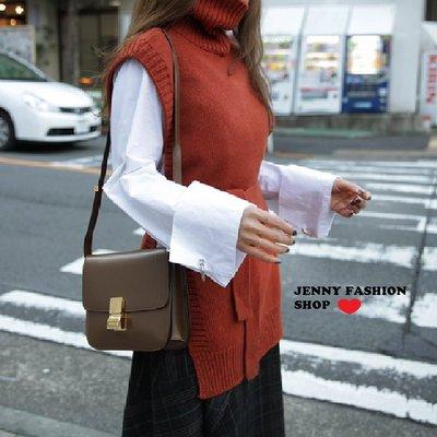 ∴?☆ 【JENNY SHOP】☆*∴ 韓國連線 正韓~好穿搭腰帶立領毛衣背心-現貨
