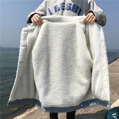 牛仔外套 短外套 薄外套 夾克 百多秋冬新款韓版學生寬松加絨加厚棉襖上衣羊羔毛翻領牛仔外套女